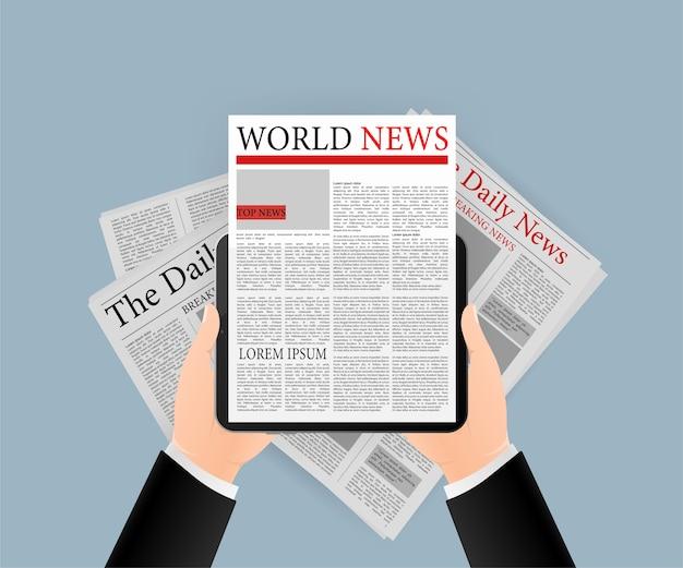 Ilustración del icono de tableta. periódico en línea, banner comercial para cualquier propósito. ilustración. icono de negocio.