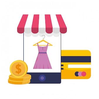 Ilustración de icono de teléfono inteligente y tienda