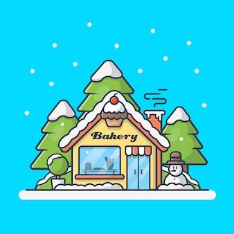 Ilustración de icono de tienda de panadería
