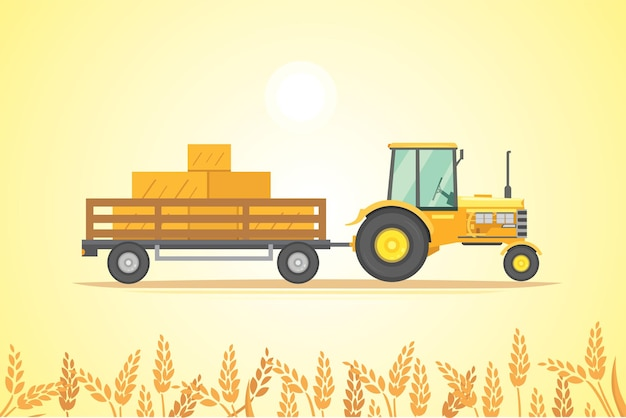 Ilustración de icono de tractor de granja. maquinaria agrícola pesada para trabajo de campo.