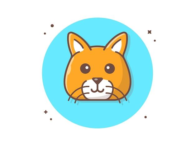 Ilustración de icono de vector de cabeza de gato