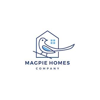 Ilustración de icono de vector de casa de urraca logo casa