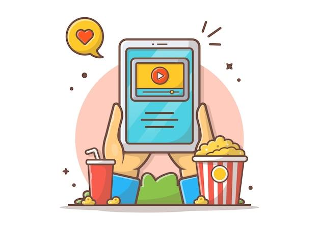 Ilustración de icono de vector de cine en línea