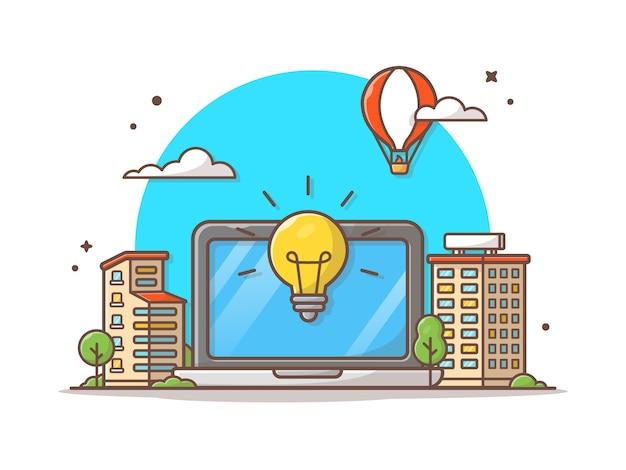 Ilustración de icono de vector de ciudad inteligente