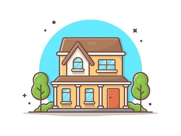 Ilustración de icono de vector de construcción de la casa