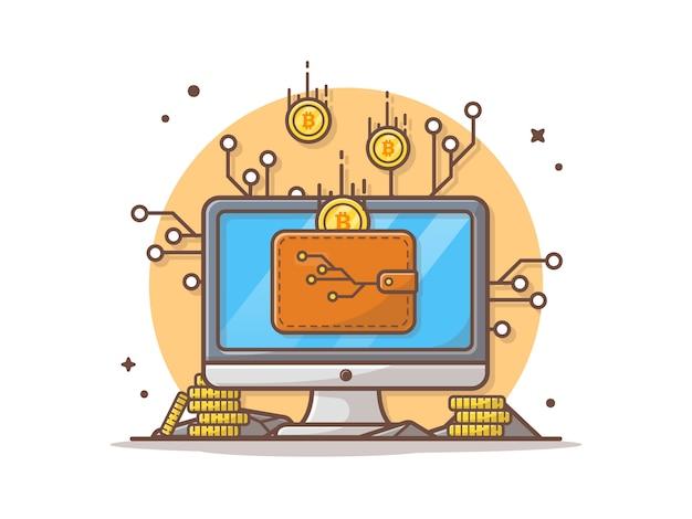 Ilustración de icono de vector de criptomoneda en línea