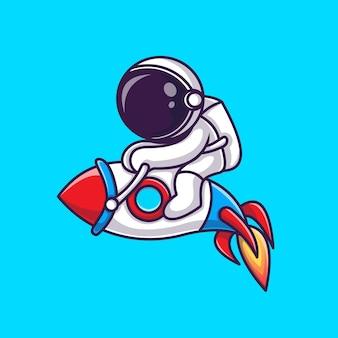 Ilustración de icono de vector de dibujos animados de astronauta montando cohete. concepto de icono de tecnología de ciencia aislado vector premium. estilo de dibujos animados plana