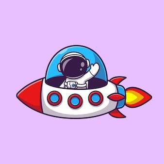 Ilustración de icono de vector de dibujos animados de astronauta montando cohete