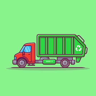 Ilustración de icono de vector de dibujos animados de camión de basura. icono de transporte público