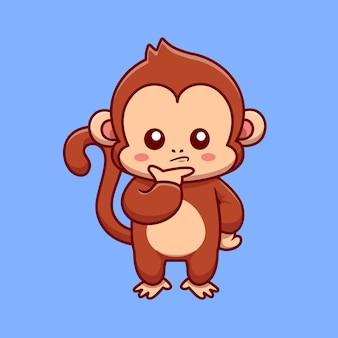Ilustración de icono de vector de dibujos animados confundido mono lindo. concepto de icono de naturaleza animal aislado vector premium. estilo de dibujos animados plana
