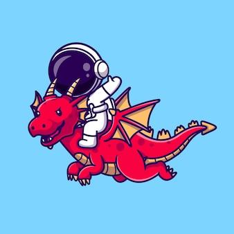 Ilustración de icono de vector de dibujos animados de dragón montando astronauta. concepto de icono de animales de ciencia aislado vector premium. estilo de dibujos animados plana