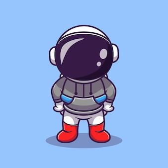 Ilustración de icono de vector de dibujos animados lindo astronauta con capucha. icono de tecnología de ciencia