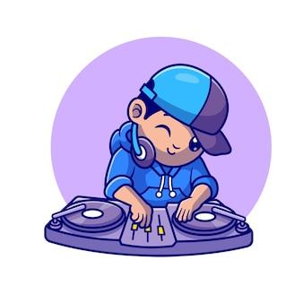 Ilustración de icono de vector de dibujos animados lindo dj tocando música. concepto de icono de música de personas aislado vector premium. estilo de dibujos animados plana