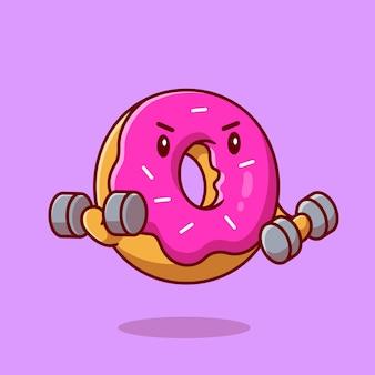 Ilustración de icono de vector de dibujos animados lindo donut levantamiento de pesas. concepto de icono de alimentos saludables. estilo de dibujos animados plana
