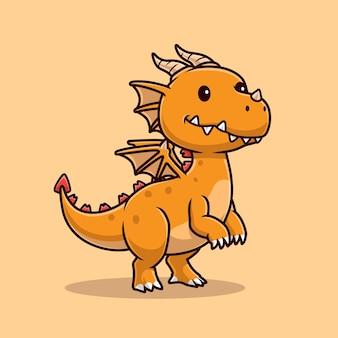 Ilustración de icono de vector de dibujos animados lindo dragón joven. concepto de icono de naturaleza animal aislado vector premium. estilo de dibujos animados plana
