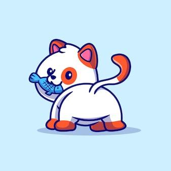 Ilustración de icono de vector de dibujos animados lindo gato comiendo pescado. concepto de icono de comida animal aislado vector premium. estilo de dibujos animados plana