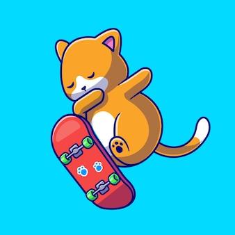 Ilustración de icono de vector de dibujos animados lindo gato jugando patineta. concepto de icono de deporte animal aislado vector premium. estilo de dibujos animados plana