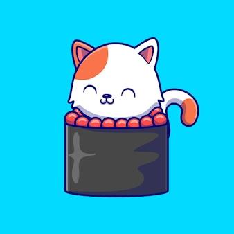 Ilustración de icono de vector de dibujos animados lindo gato sushi