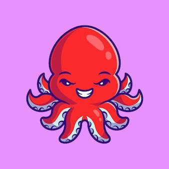 Ilustración de icono de vector de dibujos animados lindo pulpo. concepto de icono de naturaleza animal aislado vector premium. estilo de dibujos animados plana