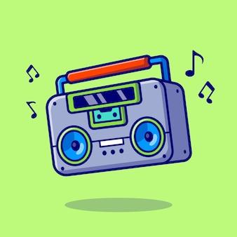 Ilustración de icono de vector de dibujos animados de música boombox. concepto de icono de música de tecnología vector premium aislado. estilo de dibujos animados plana