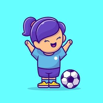 Ilustración de icono de vector de dibujos animados de niña de fútbol. concepto de icono de deporte de personas aislado vector premium. estilo de dibujos animados plana