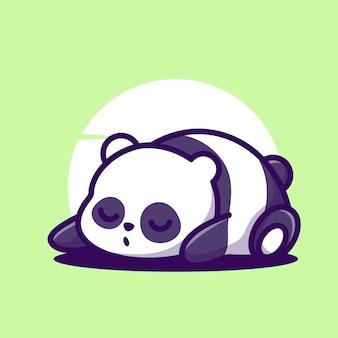 Ilustración de icono de vector de dibujos animados de panda para dormir