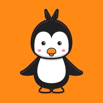 Ilustración de icono de vector de dibujos animados de personaje de mascota de pingüino lindo icono de animal mundial