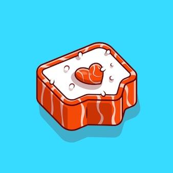 Ilustración de icono de vector de dibujos animados de sushi salmón amor. concepto de icono de comida japonesa. estilo de dibujos animados plana