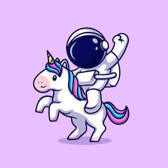 Ilustración de icono de vector de dibujos animados de unicornio montando astronauta. concepto de icono de tecnología de ciencia aislado vector premium. estilo de dibujos animados plana
