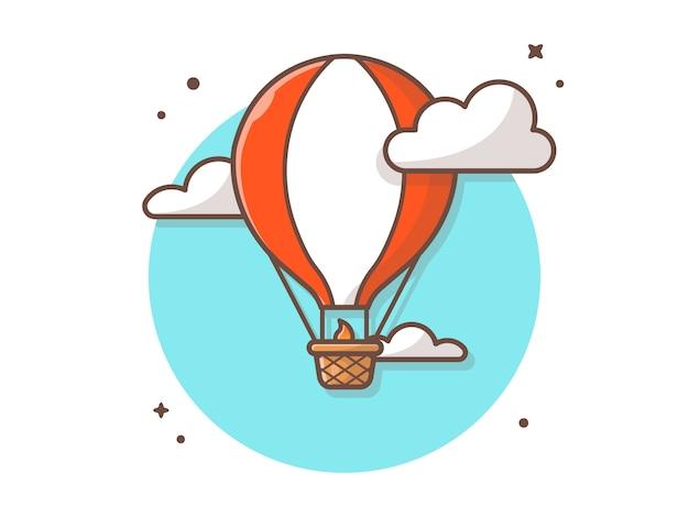 Ilustración de icono de vector de globo de aire caliente