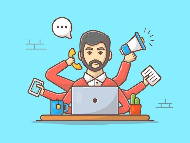 Ilustración de icono de vector de hombre multitarea