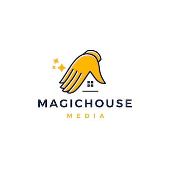 Ilustración de icono de vector logo casa mágica