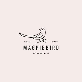 Ilustración de icono de vector de logo de pájaro de urraca