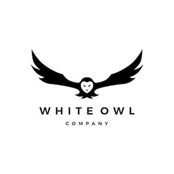 Ilustración de icono de vector de logotipo de búho blanco
