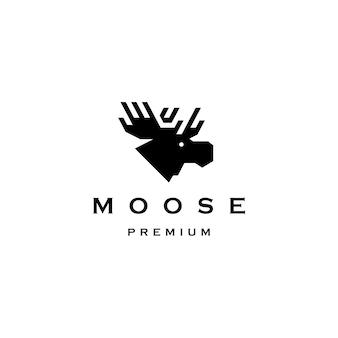 Ilustración de icono de vector de logotipo de cabeza de alce