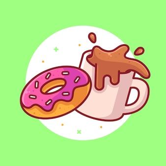 Ilustración de icono de vector de logotipo de café y rosquilla logotipo de dibujos animados de café premium en estilo plano