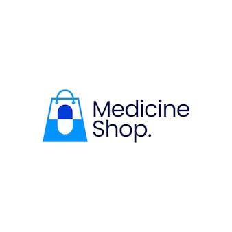 Ilustración de icono de vector de logotipo de cápsula de farmacia de tienda de medicina