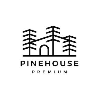 Ilustración de icono de vector de logotipo de casa de árbol de pino