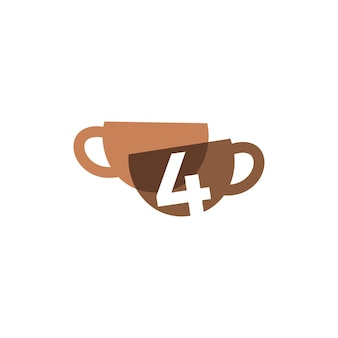 Ilustración de icono de vector de logotipo de color superpuesto de cuatro tazas de café de 4 números