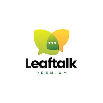 Ilustración de icono de vector de logotipo de foro de burbuja de chat de conversación de hoja