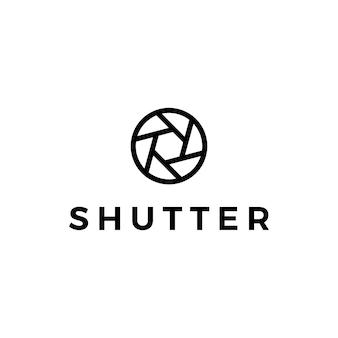 Ilustración del icono del vector del logotipo de la foto de la cámara del obturador