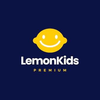 Ilustración de icono de vector de logotipo de niño de niños de limón