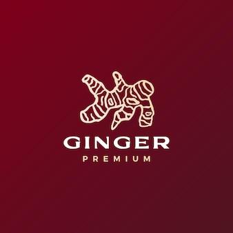 Ilustración de icono de vector de logotipo de raíz de jengibre rojo