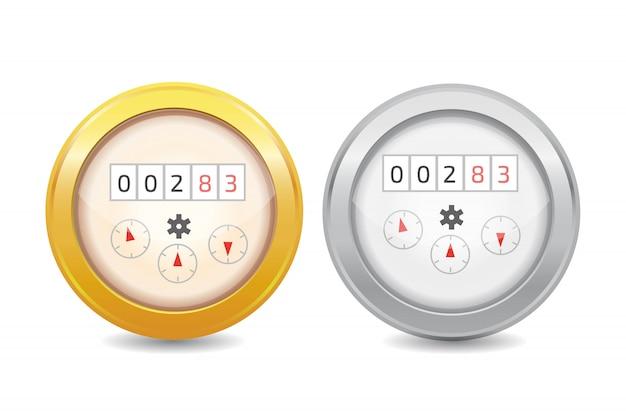 Ilustración de icono de vector de medidor de agua analógico. equipo sanitario