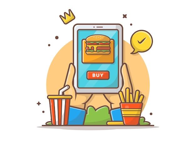 Ilustración de icono de vector de orden de comida rápida en línea