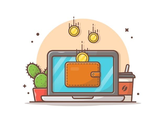 Ilustración de icono de vector de pago en línea