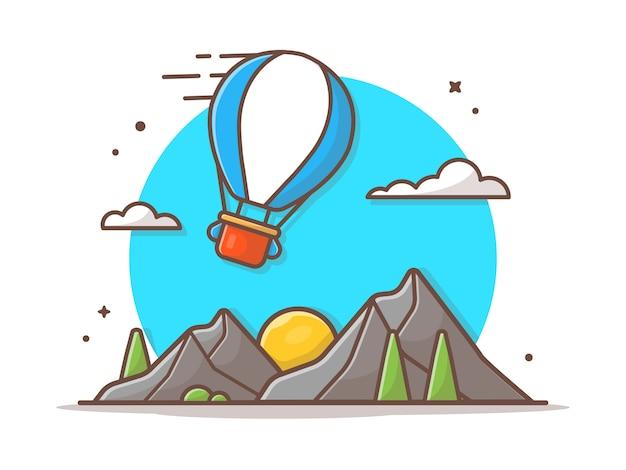 Ilustración de icono de vector de paisaje de montaña
