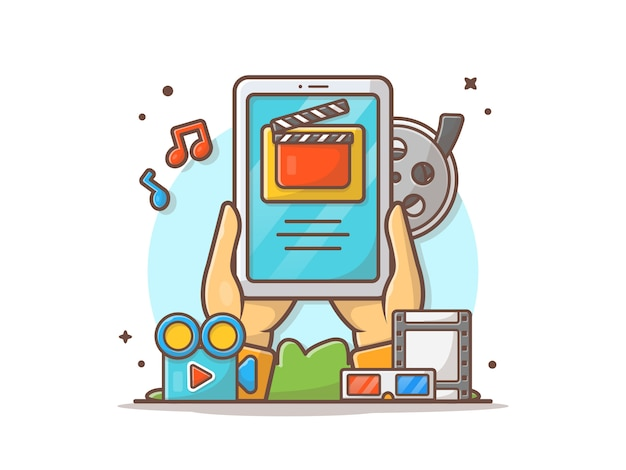 Ilustración de icono de vector de película en línea