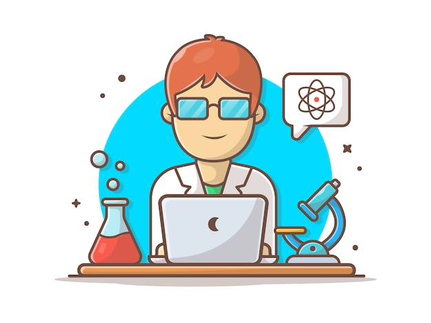 Ilustración de icono de vector de personaje científico