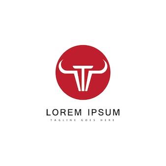 Ilustración de icono de vector de plantilla de logotipo de toro